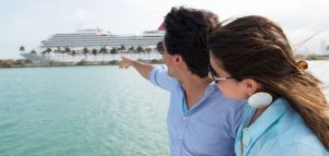 Couple planning a cruise vacation