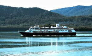 Holland America Line ship cruising in Alaska's Inside Passage