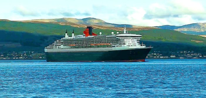 Cunard ship at the coast of Scotland