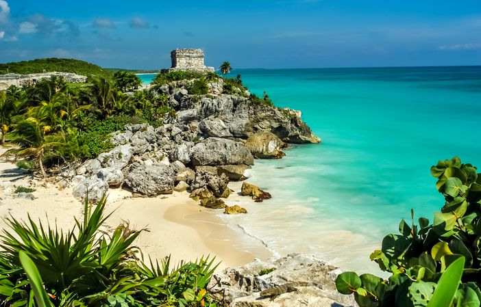 Beach at the God of Winds Temple in Tulum, Mexico, as one of the top 10 beach destinations in the world .