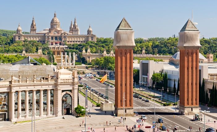 Espanya Square And National Palace In Barcelona