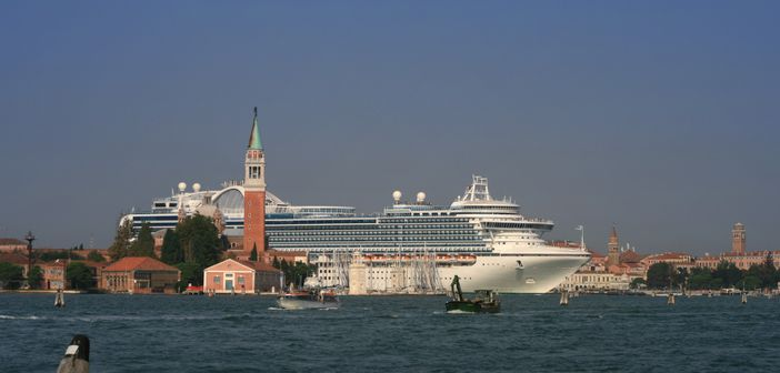 Mediterranean cruise from Venice: Princess cruise ship coming through the canals