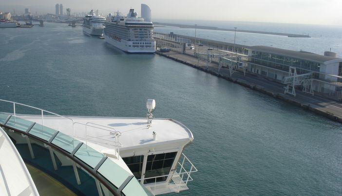 View of Barcelona cruise port from the Mariner of the Seas ship