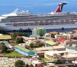 View of Carnival Destiny from the distance in Samana Bay, Dominican Republic