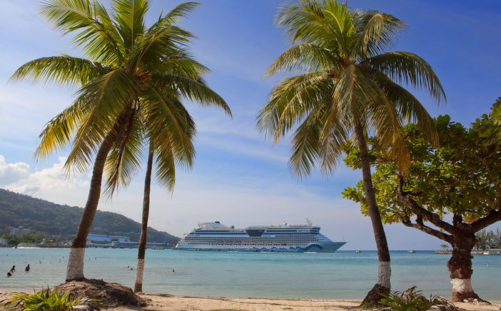 Caribbean beach with palm trees and cruise ship in the distance