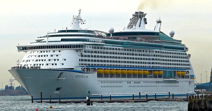 Royal Caribbean cruise ship leaving Southampton, England