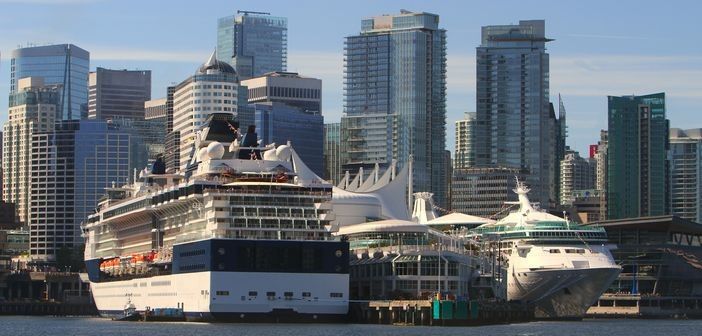 Vancouver cruise terminal and skyscrapers