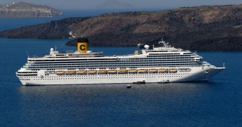 Costa cruise ship anchored at Santorini, Greece