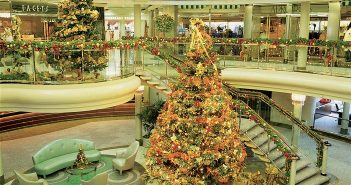Crystal Symphony's atrium at Christmas time