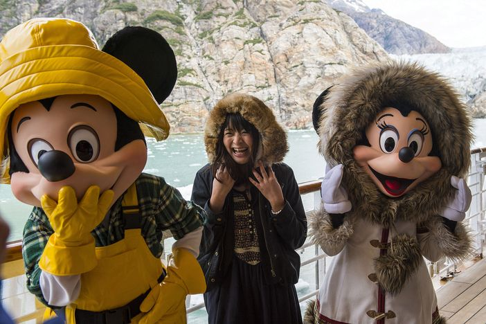 Alaska cruise with kids. With Mickey Mouse and Minnie Mouse onboard Disney Wonder