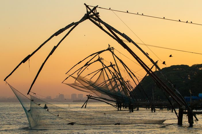 Cochi attractions: Chinese fishing nets at dawn