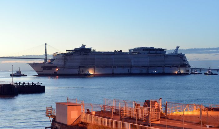 Symphony of the Seas out of the dry dock