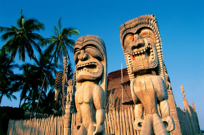 Tiki Carvings - Kona Coast, Big Island, Hawaii