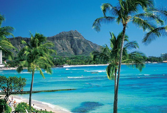 Honolulu, Waikiki beach and Diamond Head